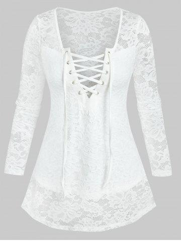 Lace-up Front Notched Flower Lace Top