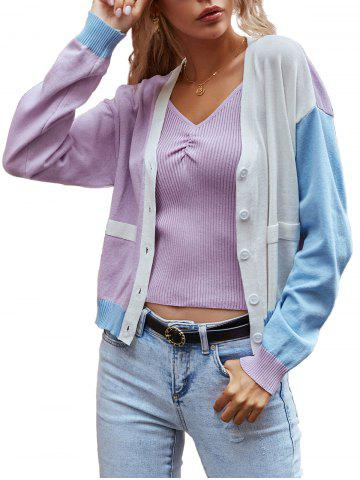V Neck Colorblock Button Up Cardigan