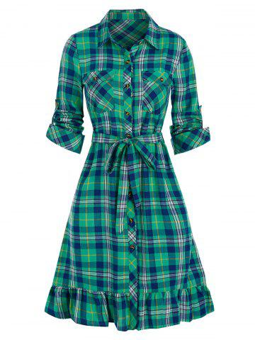 Plaid Print Double Pockets Flounced Belted Shirt Dress - BLUE HOSTA - XL