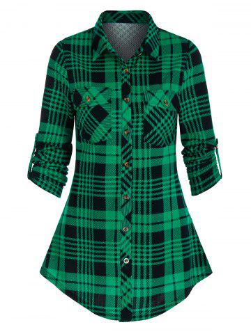 Button Up Plaid Print Double Pockets Shirt - DEEP GREEN - M