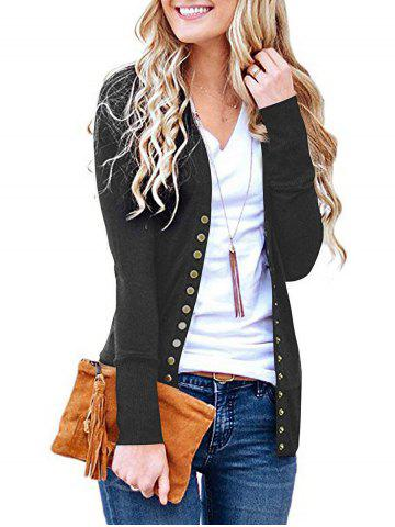 V Neck Snap Button Front Jersey Cardigan