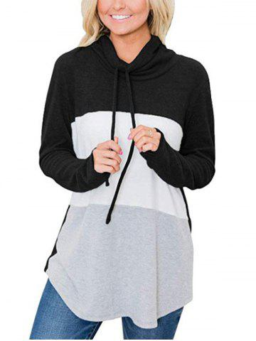 Drawstring Cowl Neck Colorblock Jersey Sweatshirt