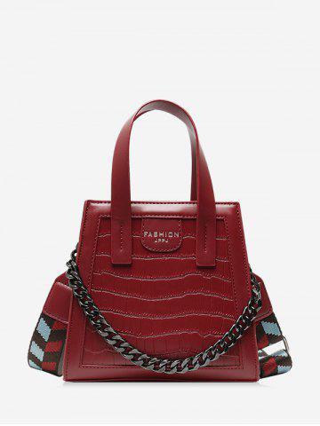Zipper Chain Embossing Crossbody Bag