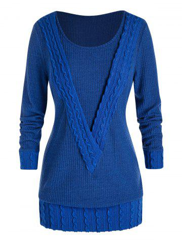 Plus Size Cable Knit Tunic Sweater - BLUEBERRY BLUE - 5X