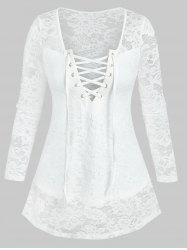 Lace-up Front Notched Flower Lace Top -