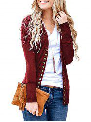 V Neck Snap Button Front Jersey Cardigan -