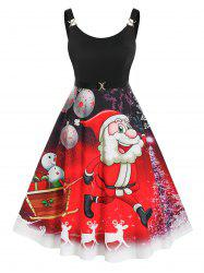 Plus Size Christmas Funny Santa Claus Snowflake Backless Dress -