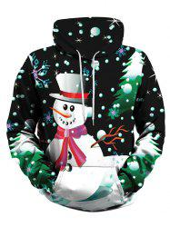 Front Pocket Christmas Tree Snowman Plus Size Hoodie -