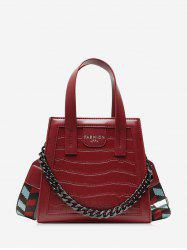 Zipper Chain Embossing Crossbody Bag -