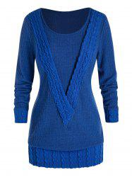 Plus Size Cable Knit Tunic Sweater -