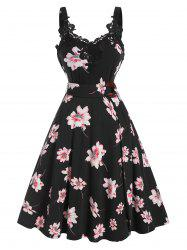 Floral Print Belted Lace Panel A Line Dress -