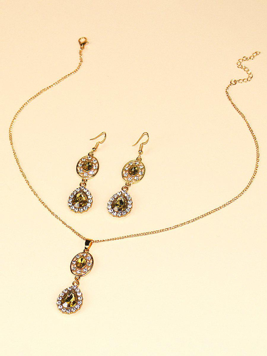 Hot Faux Crystal Water Drop Jewelry Suit