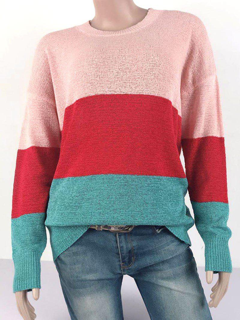 Unique Plus Size Colorblock Drop Shoulder Sweater