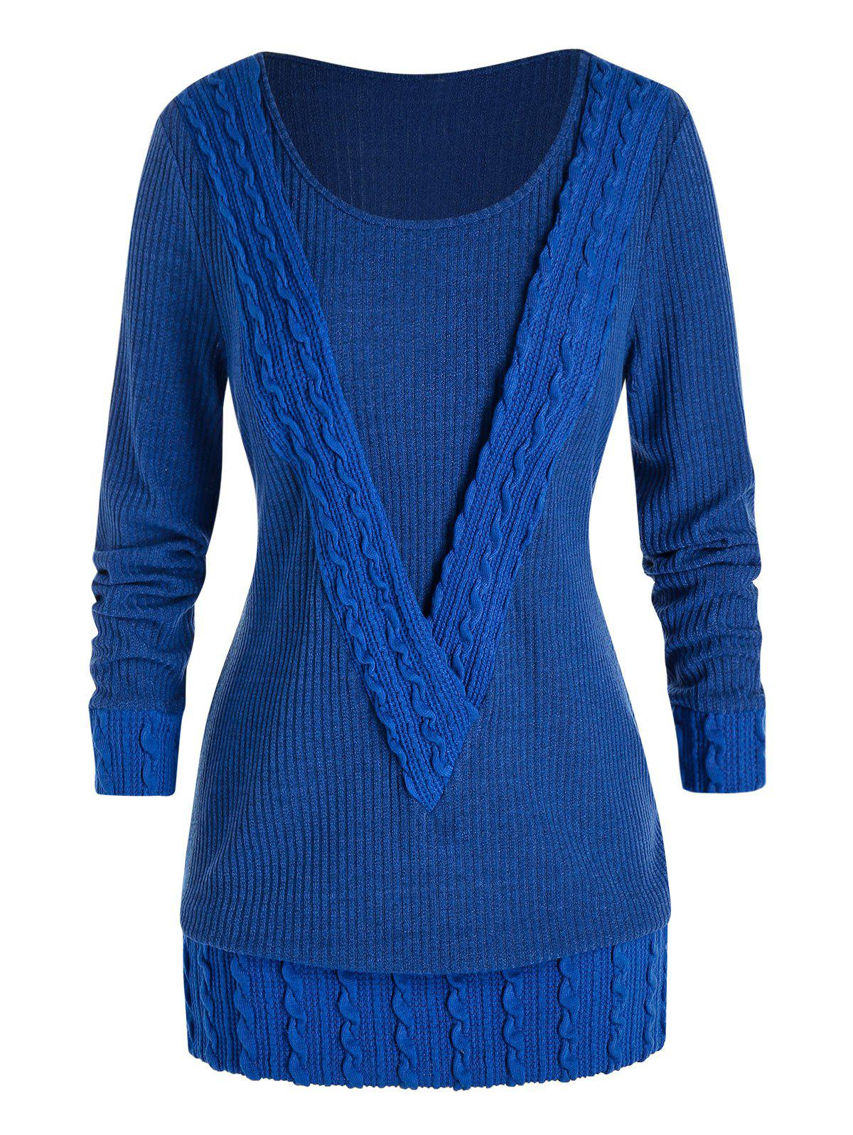 Outfits Plus Size Cable Knit Tunic Sweater