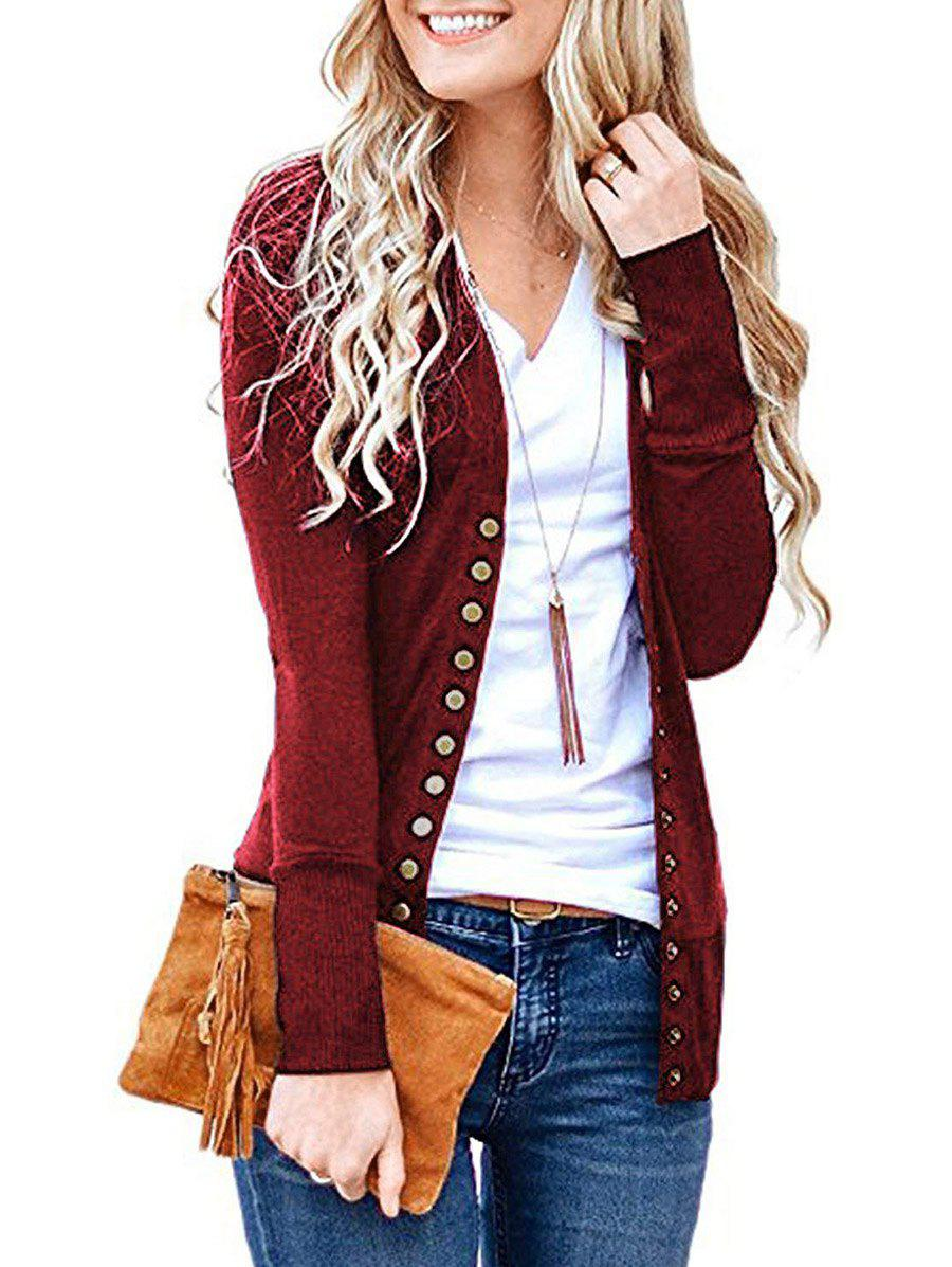Best V Neck Snap Button Front Jersey Cardigan
