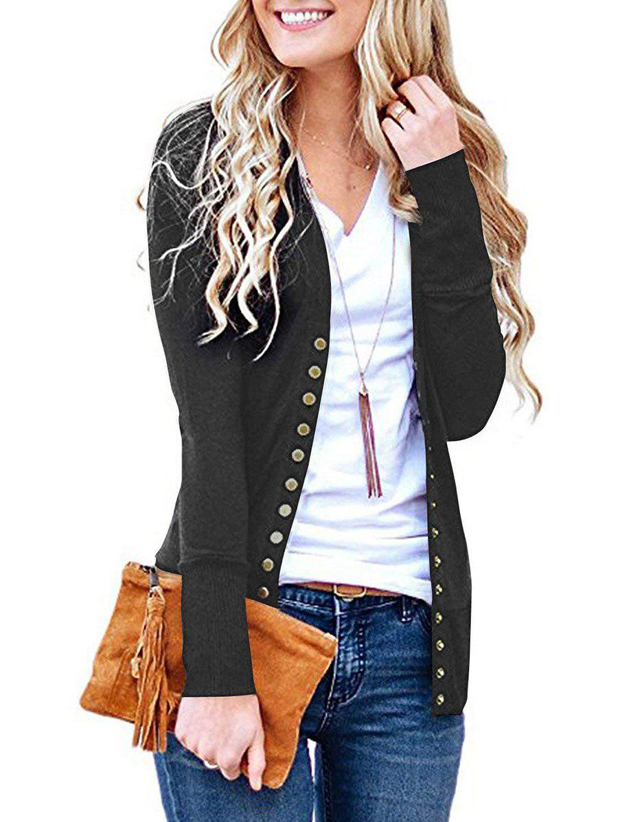 Fashion V Neck Snap Button Front Jersey Cardigan