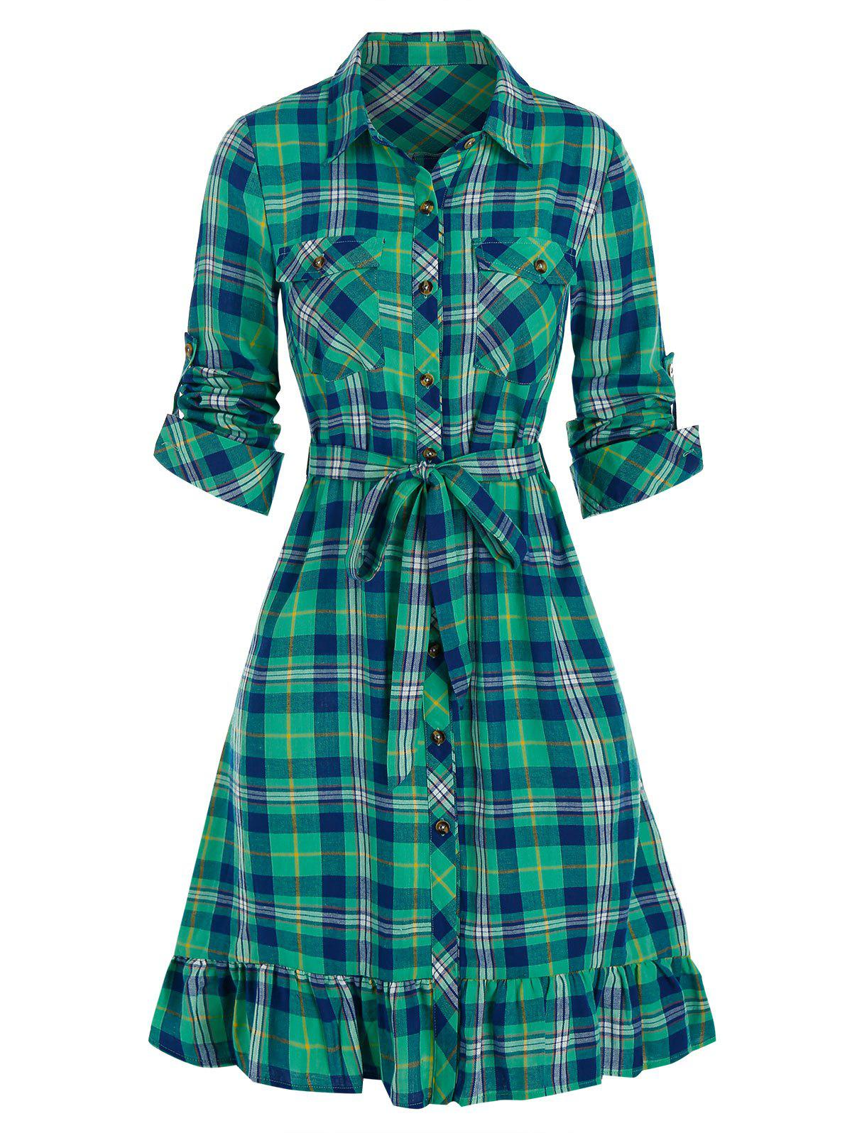 Outfit Plaid Print Double Pockets Flounced Belted Shirt Dress