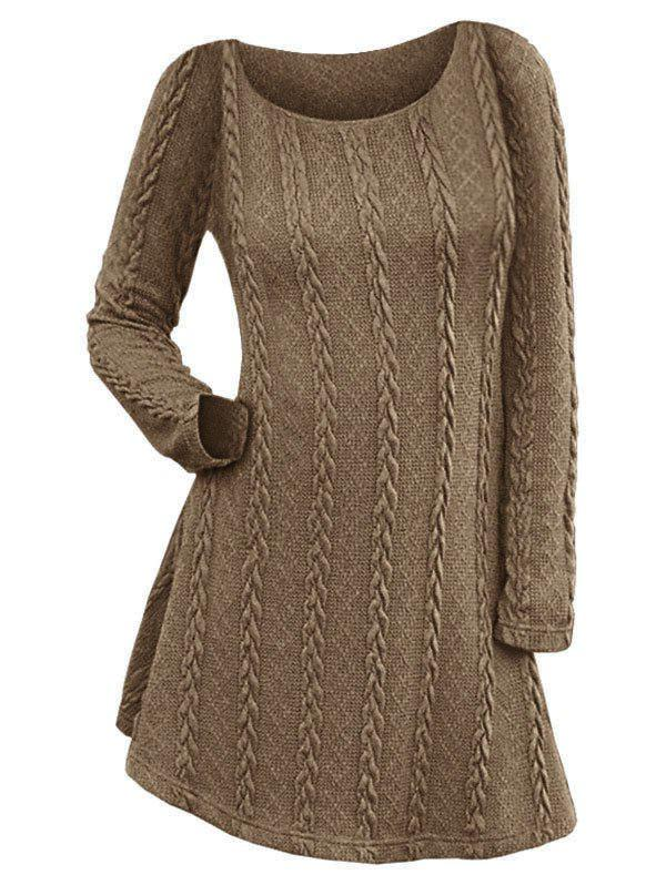 Cable Knit Long Sleeve A Line Sweater Dress