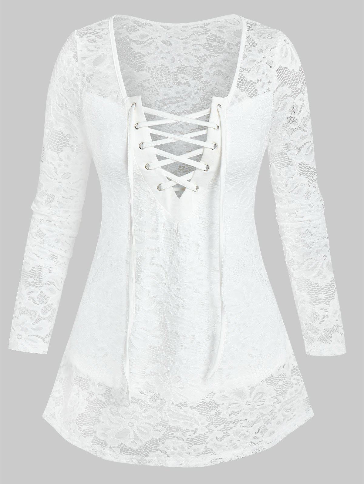 Affordable Lace-up Front Notched Flower Lace Top