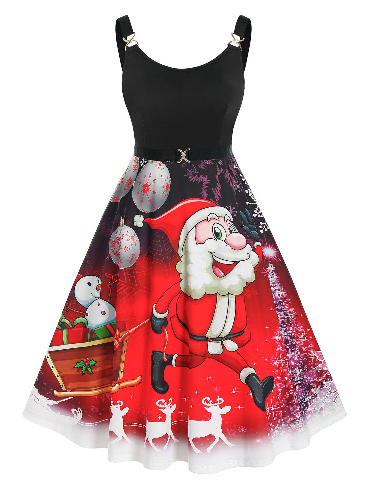 Chic Plus Size Christmas Funny Santa Claus Snowflake Backless Dress