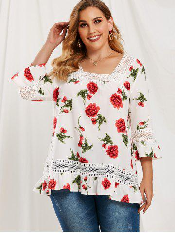 Plus Size Ruffle Floral Pattern Lace Splicing Blouse
