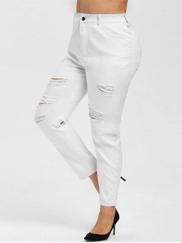 Plus Size High Waisted Ripped Pants - WHITE - 2X