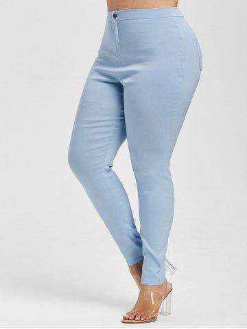 Colored High Waisted Skinny Jeans - LIGHT BLUE - XL