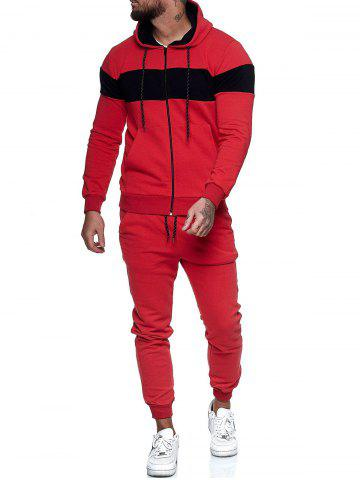 Contrast Zip Up Hoodie Jacket and Pants Sports Two Piece Set - RED - XS