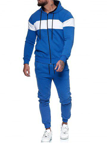 Contrast Zip Up Hoodie Jacket and Pants Sports Two Piece Set - BLUE - XS