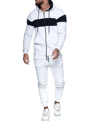 Contrast Zip Up Hoodie Jacket and Pants Sports Two Piece Set - WHITE - L