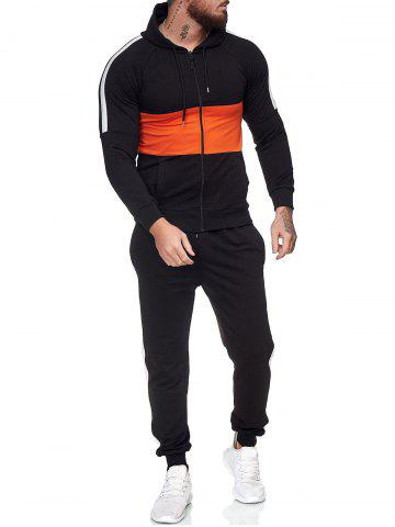 Contrast Zip Up Hoodie Jacket and Pants Two Piece Sports Set