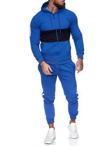 Contrast Zip Up Hoodie Jacket and Pants Two Piece Sports Set - BLUE - XS