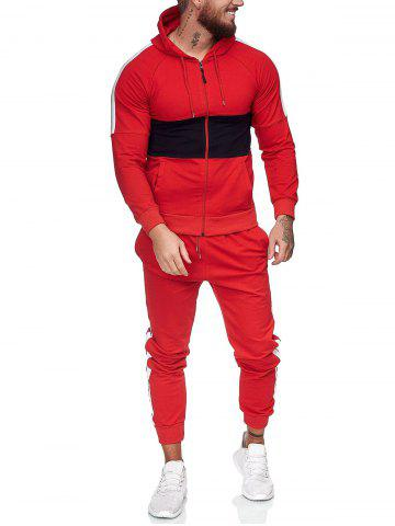 Contrast Zip Up Hoodie Jacket and Pants Two Piece Sports Set - RED - XS