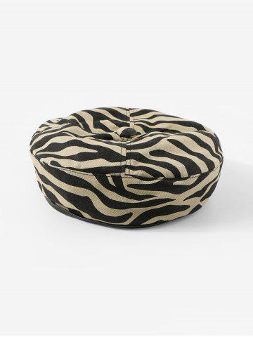 Zebra Printed Cotton Flat Beret Hat