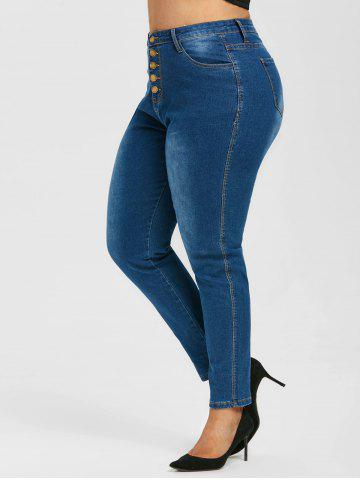 High Waisted Button Fly Plus Size Skinny Jeans - BLUE - L