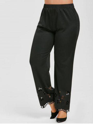 Plus Size High Waisted Laser Cut Pants