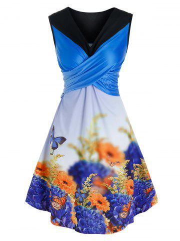 Crossover Butterfly Floral Print Dress - BLUE - L