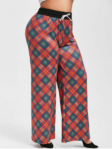 Plus Size Drawstring Plaid Wide Leg Pants - RED - 5X