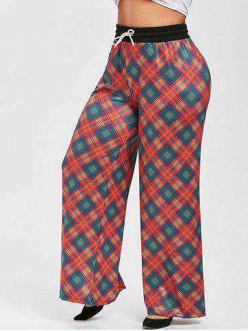 Plus Size Drawstring Plaid Wide Leg Pants