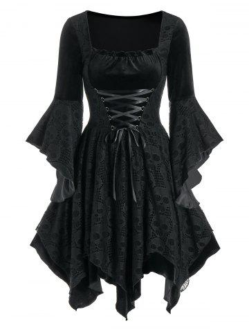 Halloween Skull Lace Insert Lace-up Velvet Handkerchief Dress