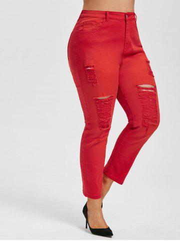 Plus Size Colored Skinny Distressed Jeans - RED - L