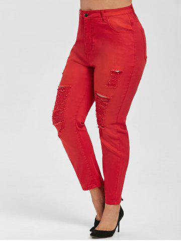 Plus Size Colored Skinny Distressed Jeans