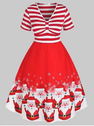 Plus Size Christmas Striped Santa Claus Snowflake Retro Dress - RED - 5X