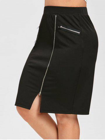 Plus Size Zippered Knee Length Sheath Skirt