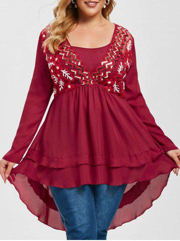 Plus Size Embroidered Mesh Sequins High Low Surplice Top - DEEP RED - 1X
