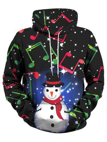 Christmas Snowman Music Note Front Pocket Plus Size Hoodie - GREEN - 4XL