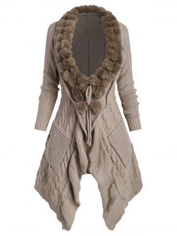 Faux Fur Collar Pocket Cable Knit Tie Front Cardigan - LIGHT COFFEE - S