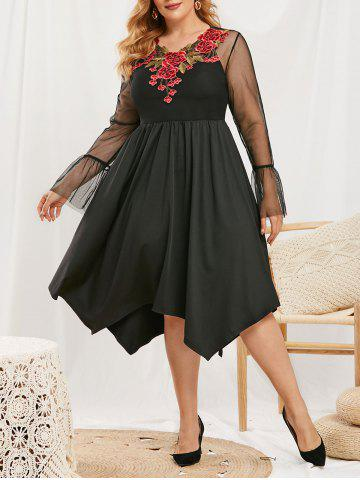 Plus Size Flower Applique Lace Flare Sleeve Dress with Camisole - BLACK - 5X