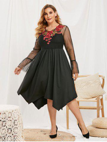 Plus Size Flower Applique Lace Flare Sleeve Dress with Camisole