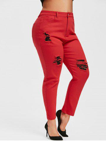 Plus Size Colored Skinny Ripped Jeans - RED - 1X